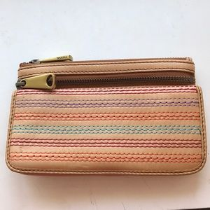 Tan leather Fossil wallet/wristlet